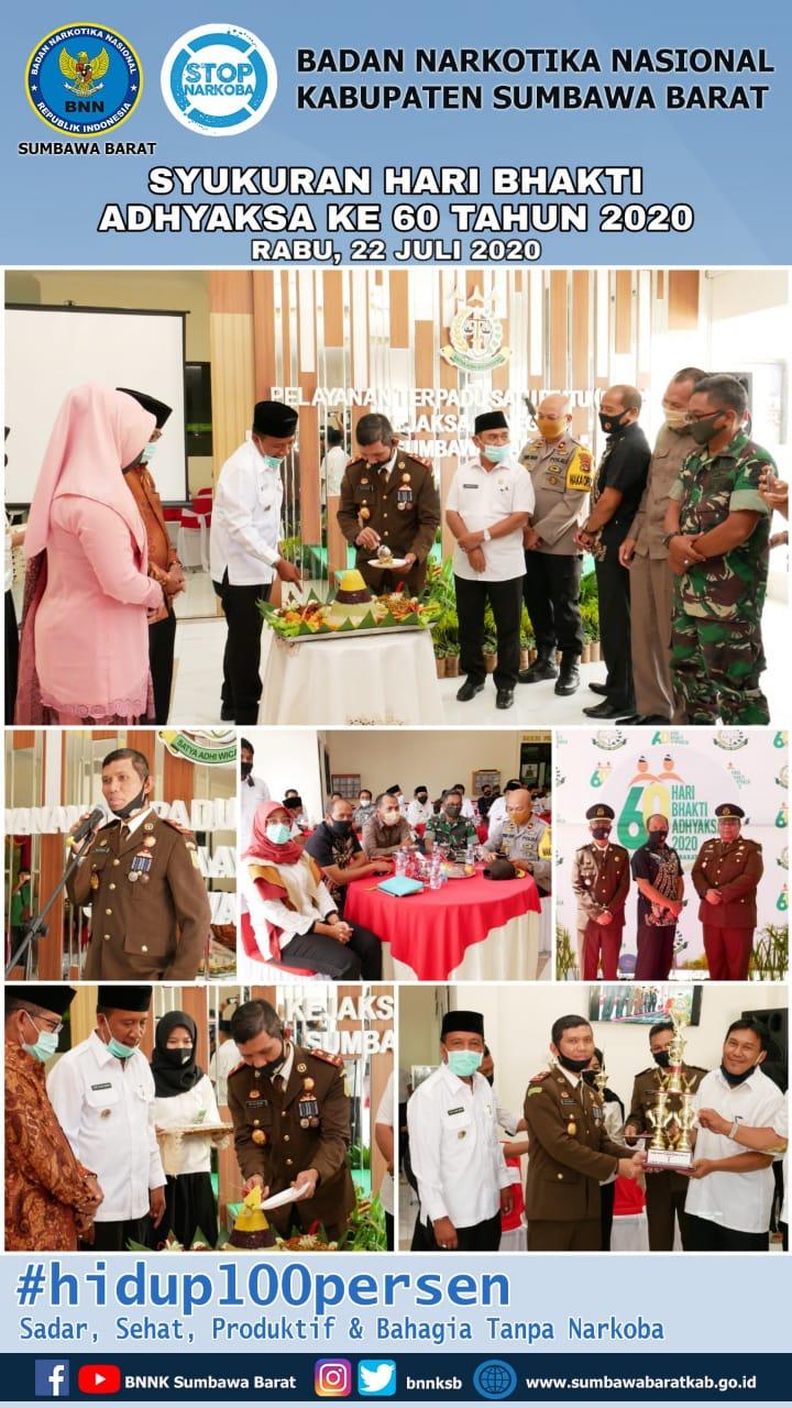 Kepala BNNK Sumbawa Barat (AKBP Cheppy Ahmad Hidayat, S.Ag) menghadiri Kegiatan Syukuran dalam rangka Hari Bhakti Adhyaksa Ke-60 tahun 2020